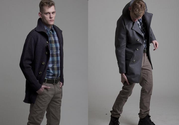 man wearing grey coat, man wearing cardigan